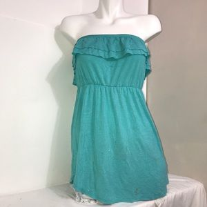 Teal Seafoam Strapless Ruched Mini Summer Dress